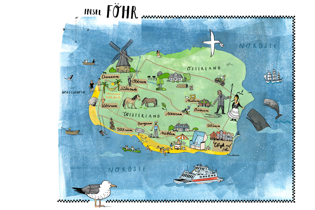 insel föhr karte Illustrierte Karte Insel Föhr   Ulrike Jensen