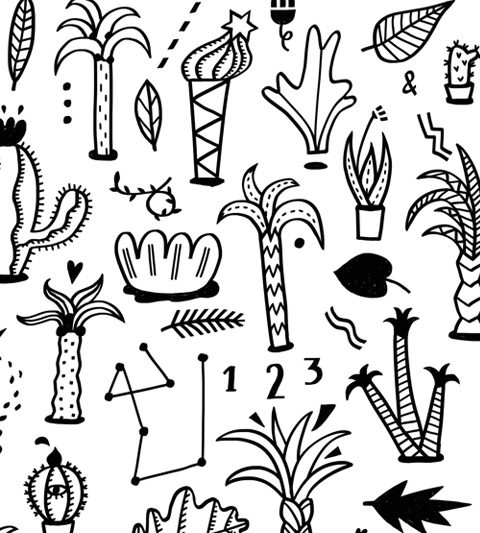 schwarz weiss illustration Muster