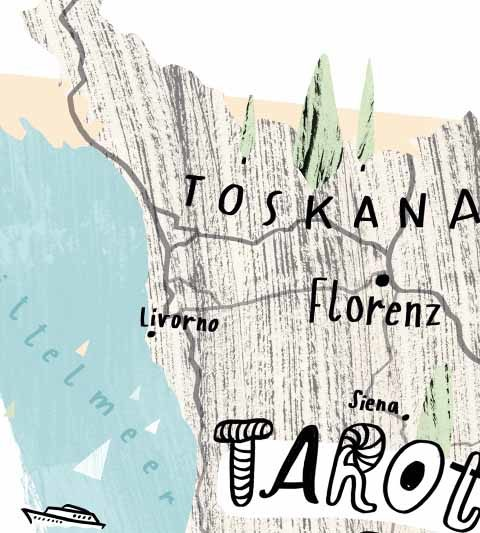 illustrated map toscana