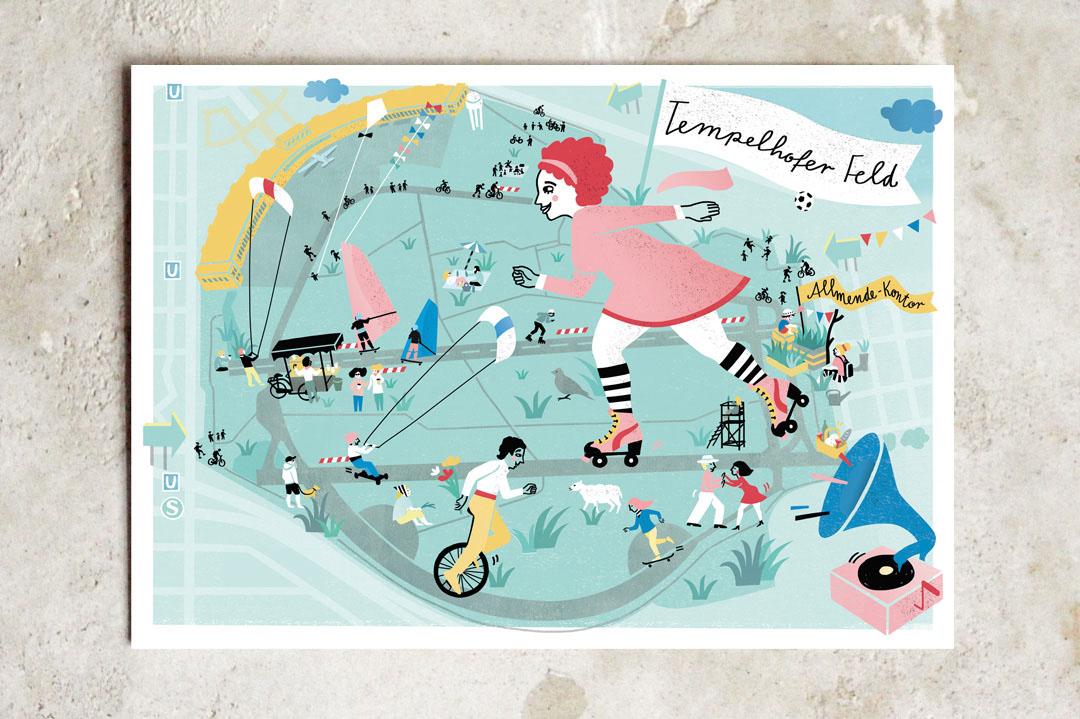 illustration map illustriert plan Tempelhofes Feld wimmelbild wholesale grosshandel
