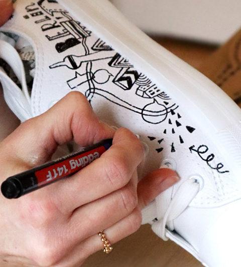 produkt illustration lettering sneaker