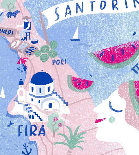 illustrated map Santorin