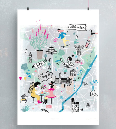illustrierter Stadtplan münchen