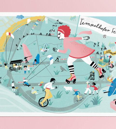 illustrated map Tempelhofer Feld Berlin